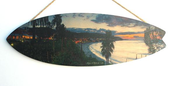 Laguna Beach View - Wood Surfboard Sign