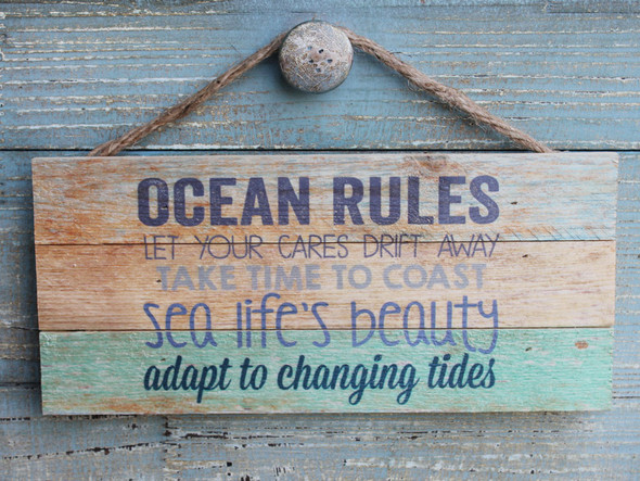 Ocean Rules Striped Hanging Sign