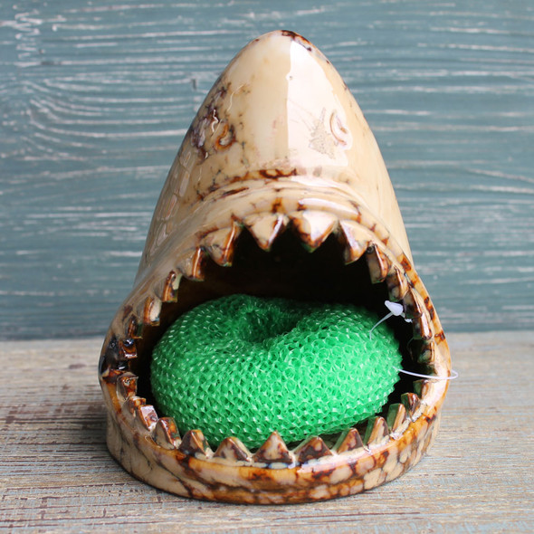 Ceramic Shark Scrub Holder