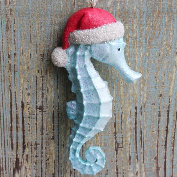 Blue Resin Santa Seahorse Ornament