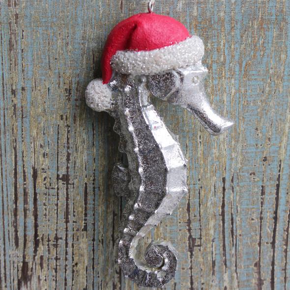 Silver Santa Seahorse Ornament