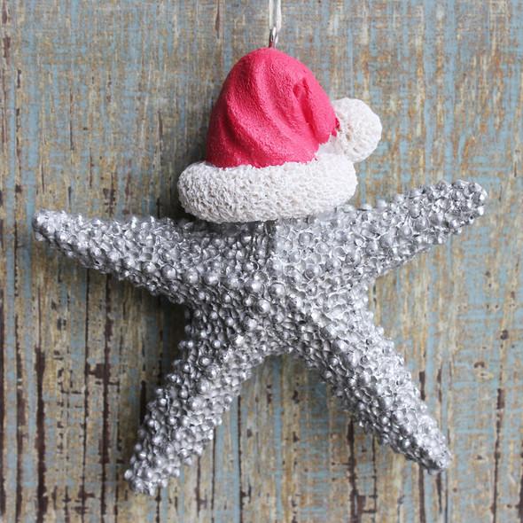 Silver Santa Starfish Ornament