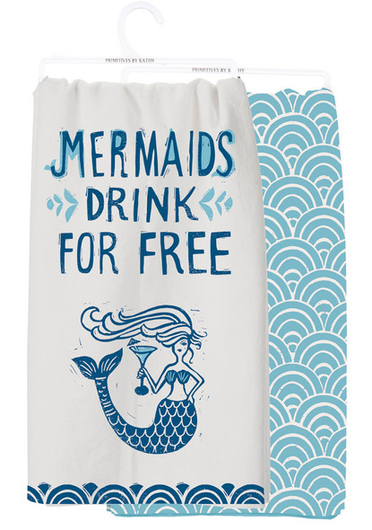 Mermaids Drink Free Tea Towel