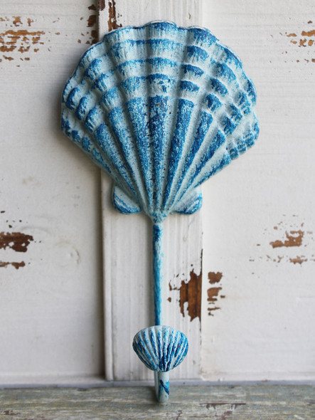 Blue Scallop Shell Long Hook