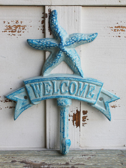 Blue Starfish Welcome Iron Hook