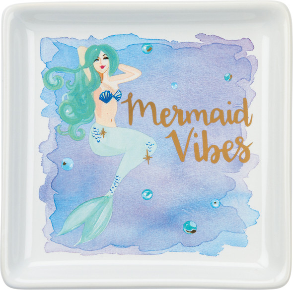 Mermaid Vibes Watercolor Trinket Tray