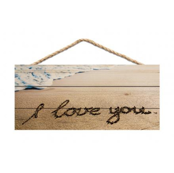 I Love You Writing in Sand Rope Sign