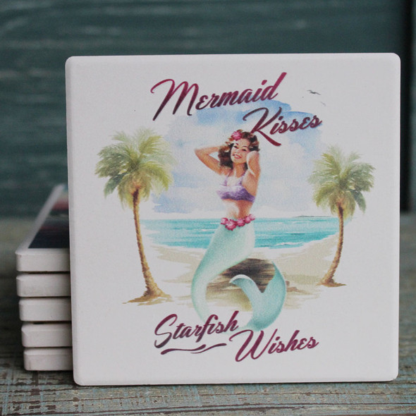Mermaid Kisses & Starfish Wishes Tropical Coaster