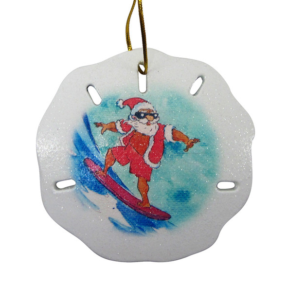 Surfing Santa Sand Dollar Ornament