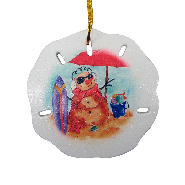 Christmas Sandman Sand Dollar Ornament
