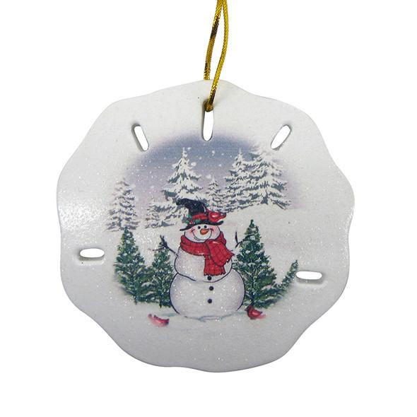 Snowman Scene Sand Dollar Ornament