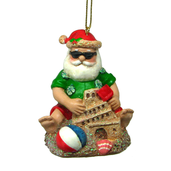Santa Making a Sand Castle Ornament