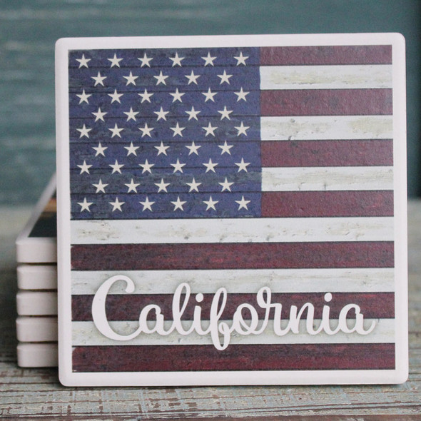 California - American Flag Coaster