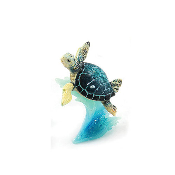 Blue Sea Turtle on Wave