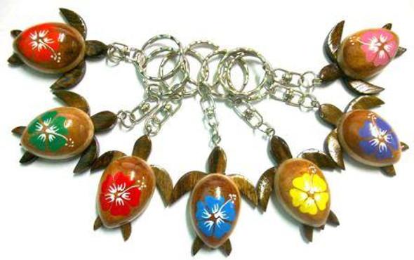 Hibiscus Sea Turtle Keychains - 1 Dozen