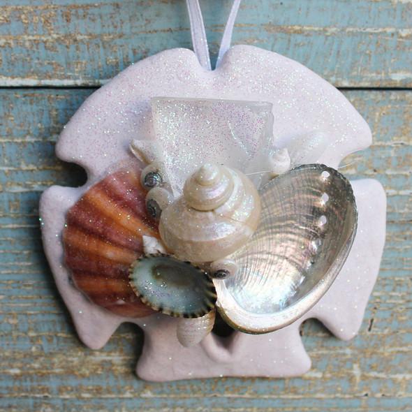 White Sea Glass Sand Dollar Collage Ornament
