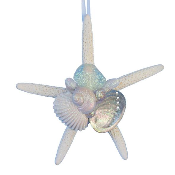 White Finger Starfish Ornament with White Sea Glass