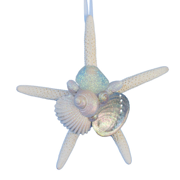 White Finger Starfish Ornament with White Sea Glass