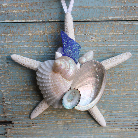 Deluxe Dark Blue Sea Glass White Starfish Collage Ornament