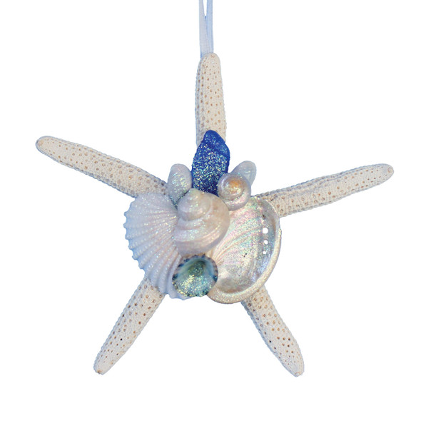 Dark Blue Sea Glass Finger Starfish Ornament