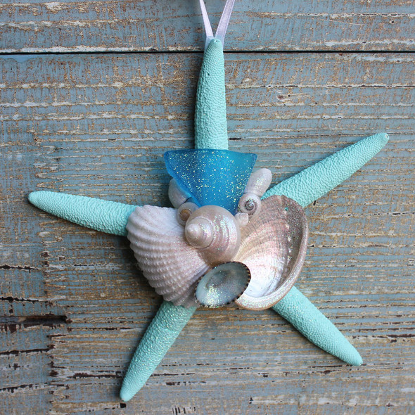 Light Blue Sea Glass on an Aqua Starfish Ornament