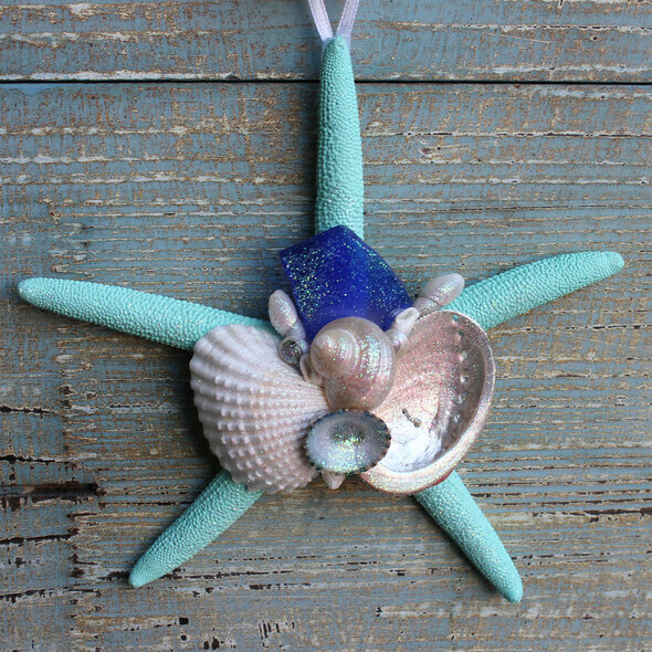 Dark Blue Sea Glass on an Aqua Starfish Collage Ornament