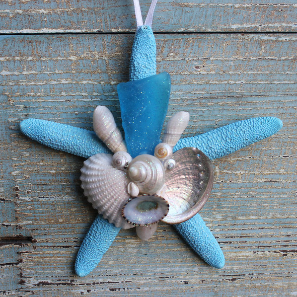 Light Blue Sea Glass on a Blue Starfish Collage Ornament