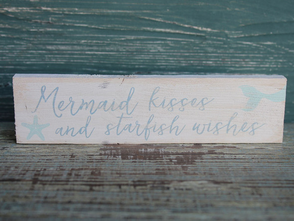 Mermaid Kisses & Starfish Wishes small wood sign