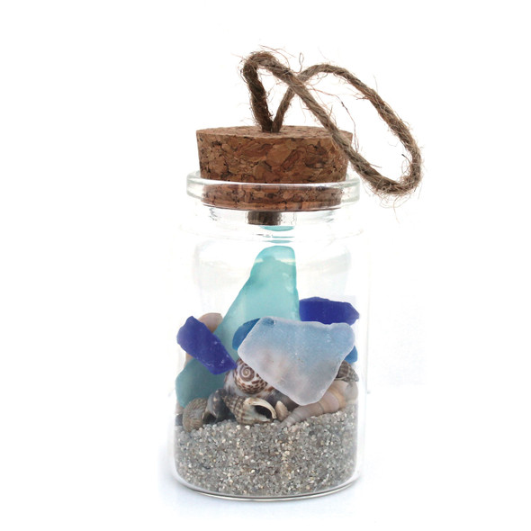 Sea Glass Beach Bottle Ornament with Natural Sand
