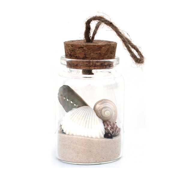 White Sand Seashells Bottle Ornament