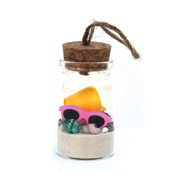 Beach Bucket Bottle Ornament with White Sand