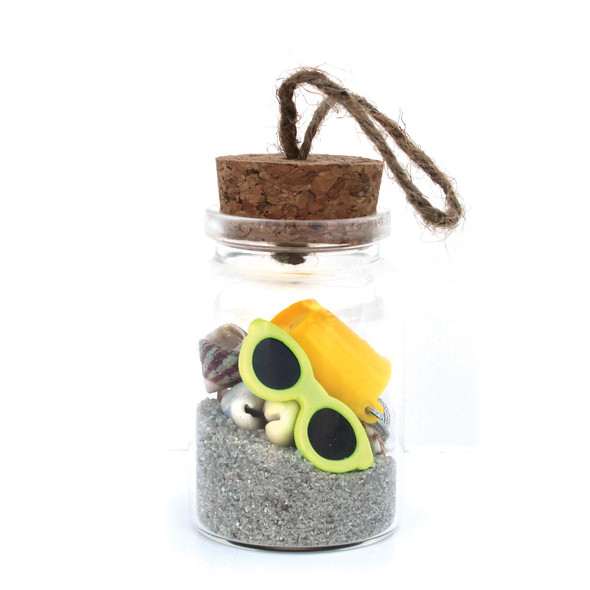 Beach Bucket Bottle Ornament with Natural Sand