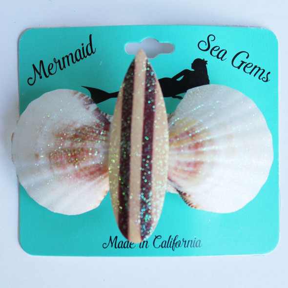 Wood Surfboard Hair Clip - Mermaid Sea Gem