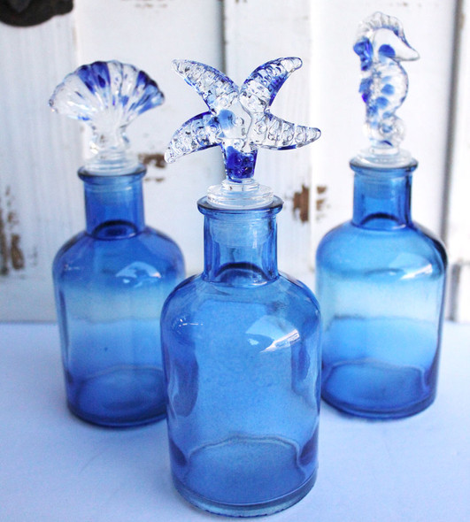 Blue Glass Sea Life Bottles Set