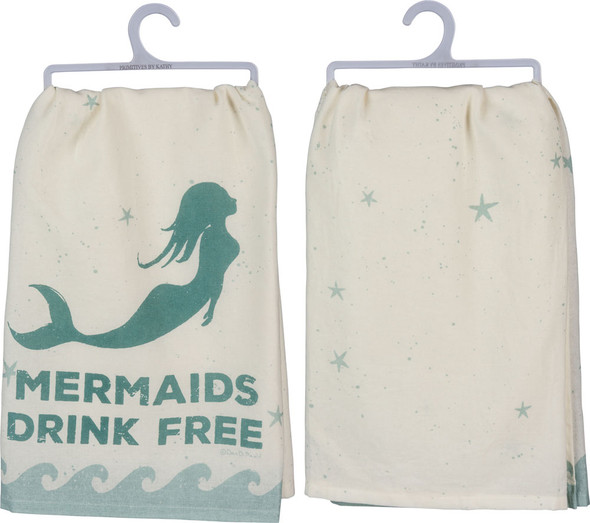 Mermaids Drink Free Cotton Dish Towel