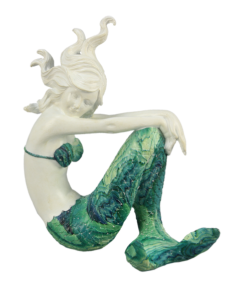Flowing Hair Mermaid with Green Swirl Tail