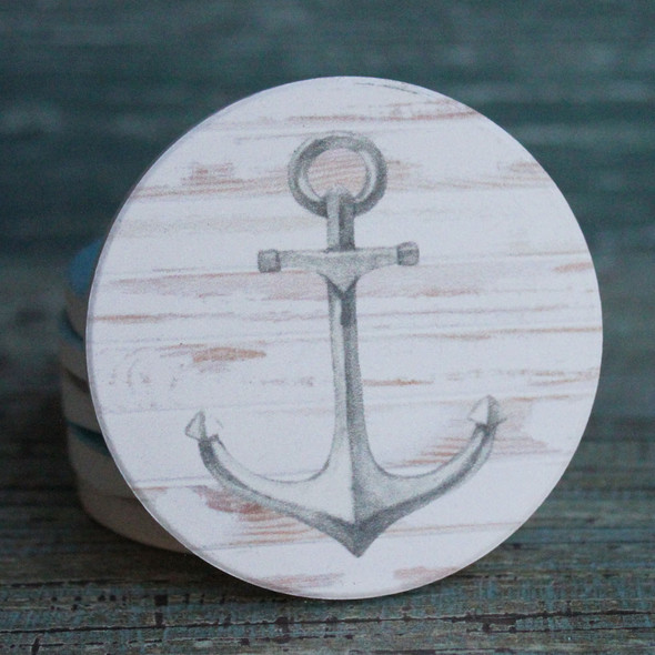 White Anchor Car Coaster