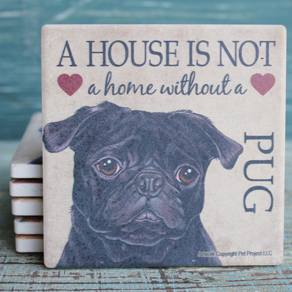 Black Pug Dog Coaster