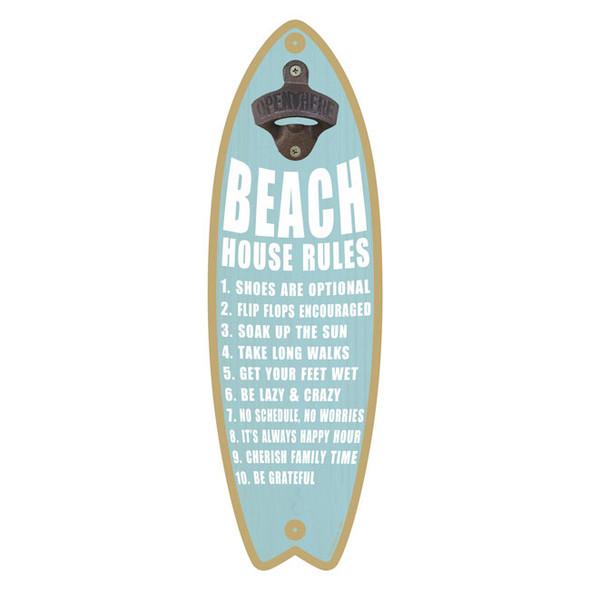 Beach Rules Surfboard Bottle Opener