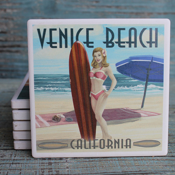 Venice Beach Pinup Surfer Girl