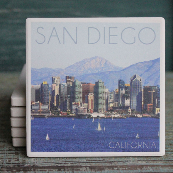 San Diego Mountains and Sailboats Coaster