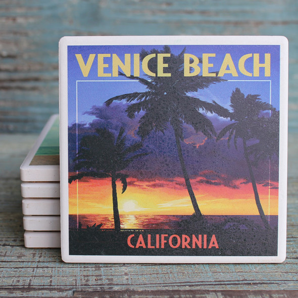 Venice Beach Palms at Sunset Coaster