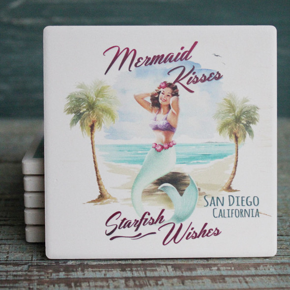 Mermaid Kisses  - Starfish Wishes Coaster