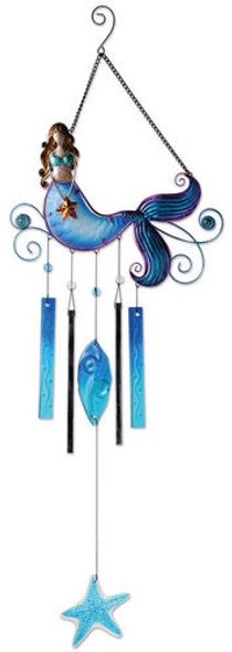 Mermaid Metal & Glass Wind Chime