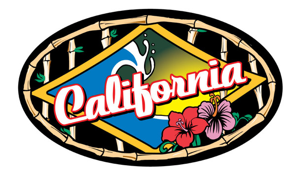 California Wave Bamboo Sticker