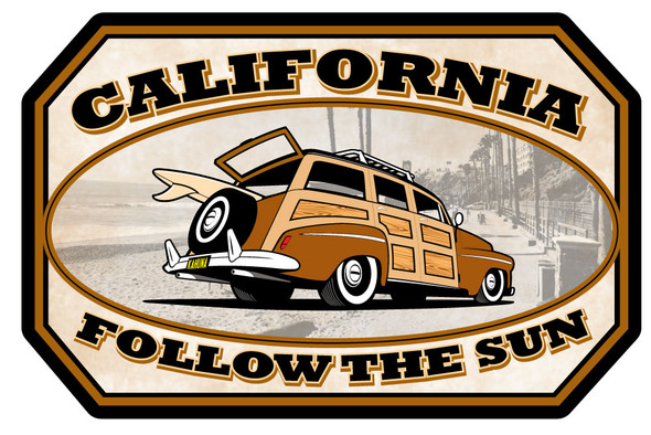California Woody Sticker