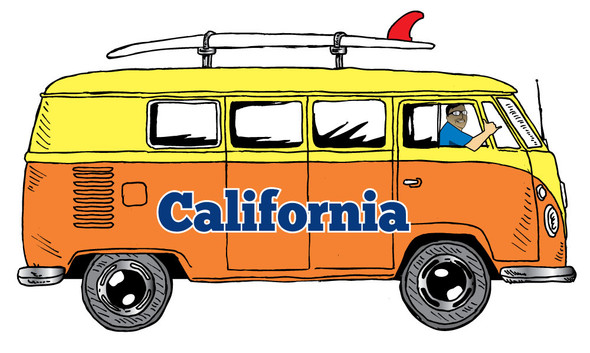 California Orange Bus Sticker