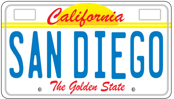 San Diego License Plate Sticker