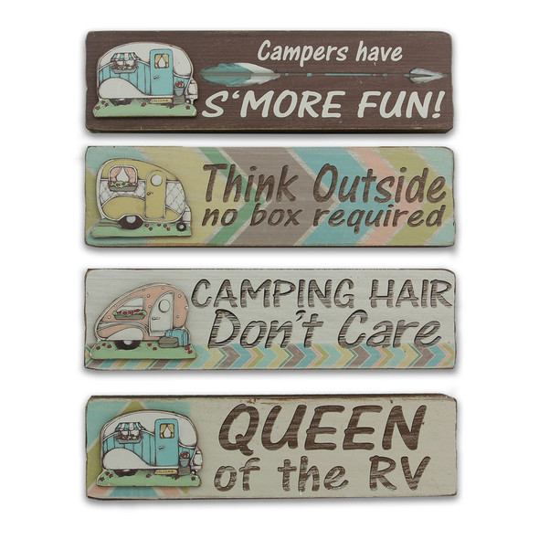 Camper Block Sign Set of 4