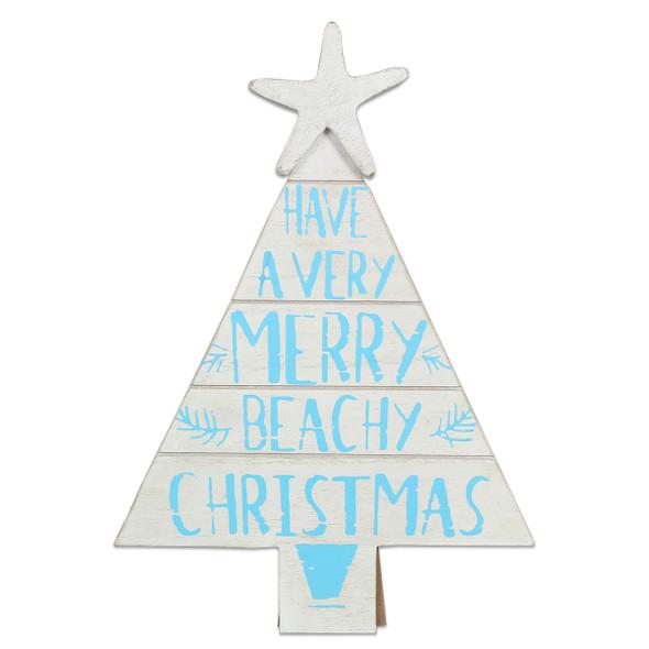 Merry Beachy Christmas Tree Plaque